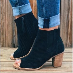 TOMS • Black Majorca Peep Toe Booties 9.5